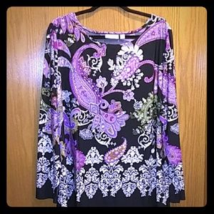 Susan Graver QVC paisley blouse